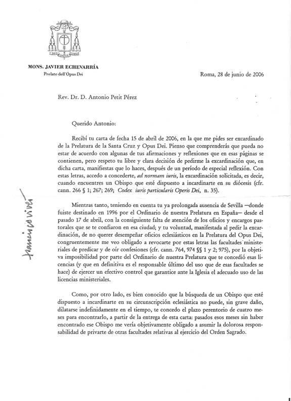 Decreto del Prelado del Opus Dei (1)